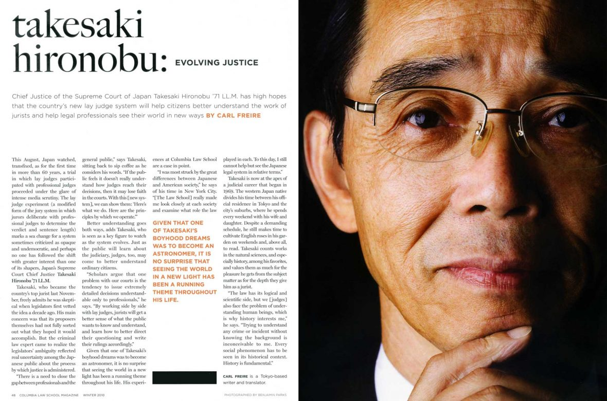 Takesaki Hironobu, Chief Justice of the Supreme Court of Japan, for In Touch Magazine