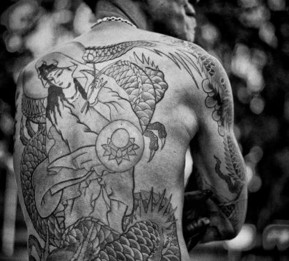 Tattooed back of rockabilly performer, Tokyo, Japan
